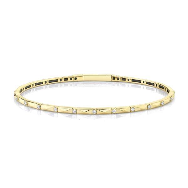 14k Yellow Gold and Titanium Bracelet 1/6 ct. tw.
