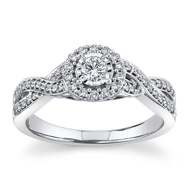 Cherish 14k White Gold Diamond Engagement Ring 3/8 ct. tw.