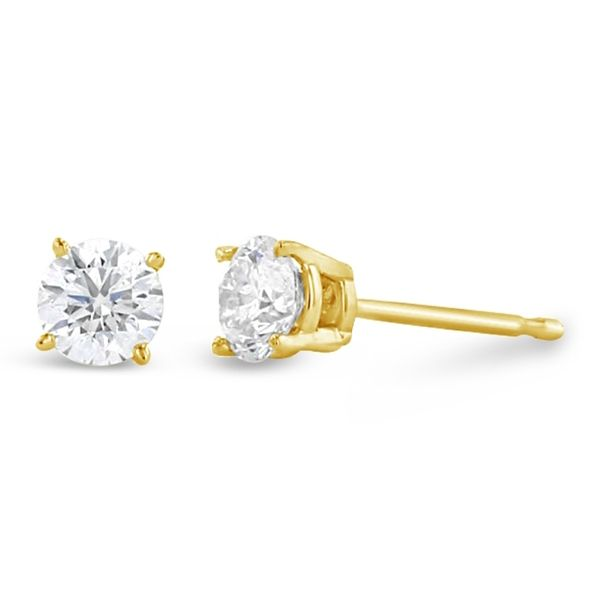 Eternalle Lab-Grown 14k Yellow Gold Solitaire Earrings 1/2 ct. tw.