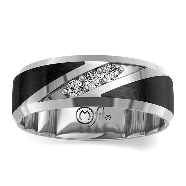MFit Black Ceramic Carbide and 14k White Gold Diamond Wedding Band 1/5 ct. tw.