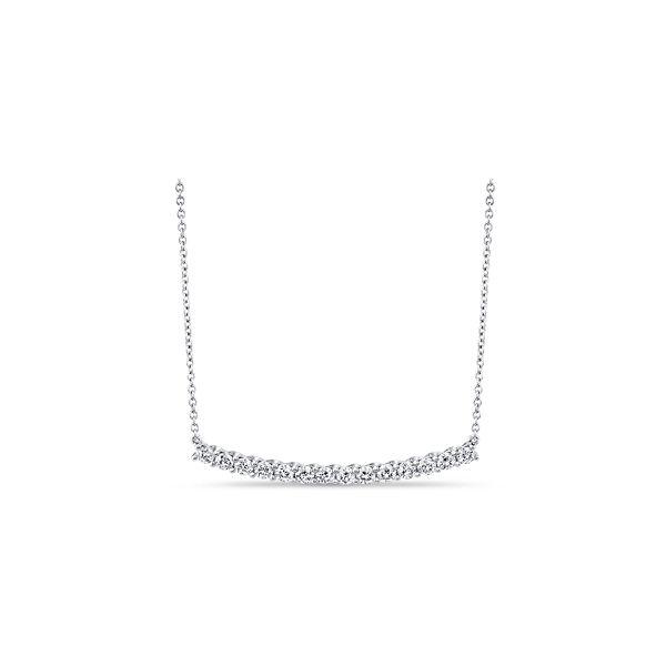 Memoire 18k White Gold Diamond Bar Necklace 1 ct. tw.
