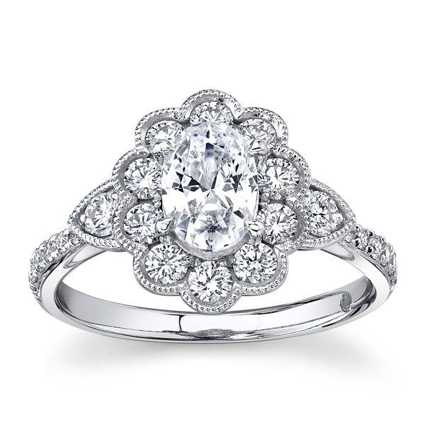 RB Signature 14k White Gold Diamond Engagement Ring Setting 5/8 ct. tw.