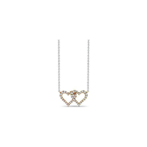 14k White Gold & 14k Yellow Gold & 14k Rose Gold Heart Necklace 1/4 ct. tw.