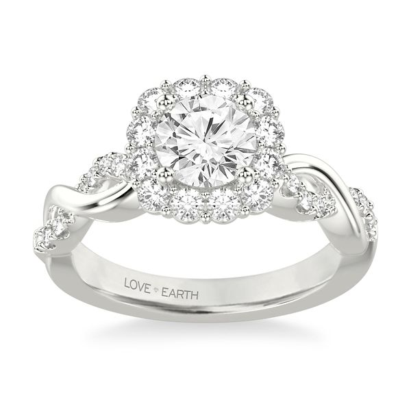 Love Earth 14k White Gold Diamond Engagement Ring Setting 1/2 ct. tw.