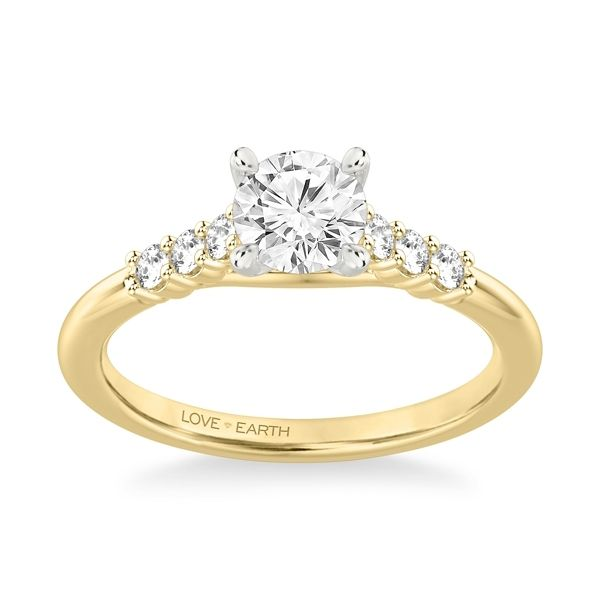 Love Earth 14k Yellow Gold and 14k White Diamond Engagement Ring Setting 1/5 ct. tw.