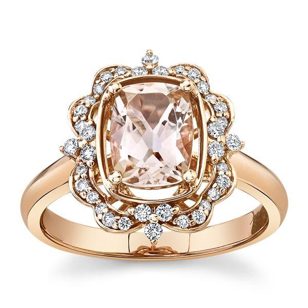 Blossom Bridal 14k Rose Gold Morganite Diamond Engagement Ring 1/5 ct. tw.