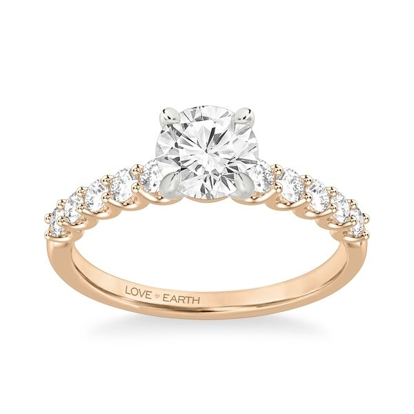 Love Earth 14k Rose and 14k White Gold Diamond Engagement Ring Setting 3/8 ct. tw.