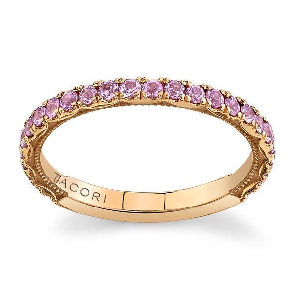 Tacori 18k Rose Gold Pink Sapphire Diamond Wedding Band