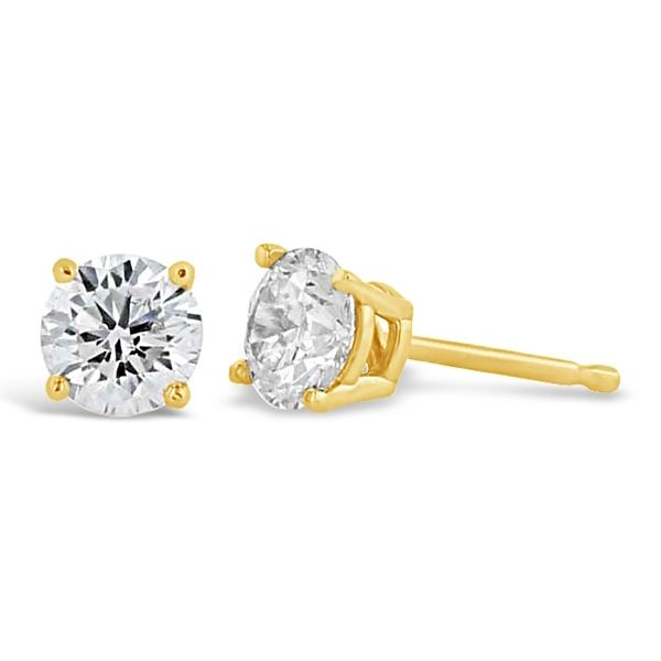 Eternalle Lab-Grown 14k Yellow Gold Solitaire Earrings 3/4 ct. tw.