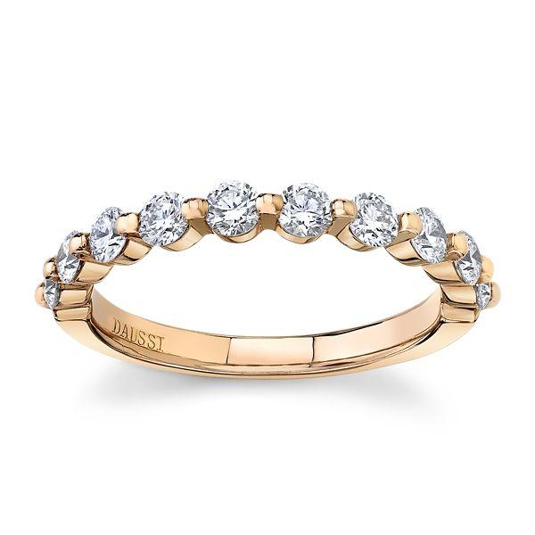 Henri Daussi 18k Rose Gold Diamond Wedding Band 3/4 ct. tw.