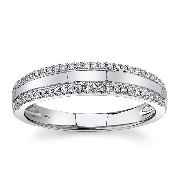 Shy Creation 14k White Gold Diamond Wedding Ring 1/6 ct. tw.