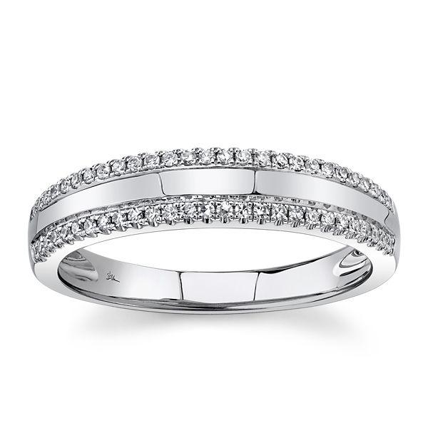Shy Creation 14k White Gold Diamond Wedding Ring 1/6 ct. tw.