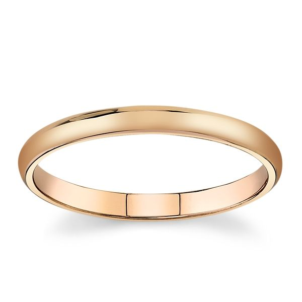 14k Rose Gold 2mm High Polished Wedding Band