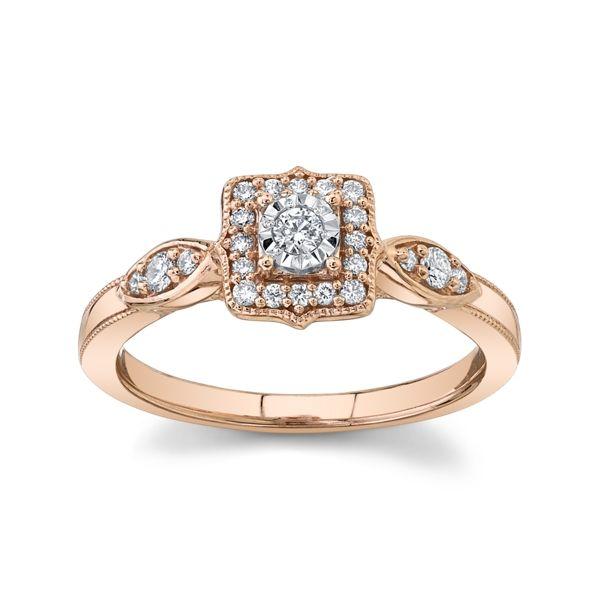 Cherish 10k Rose Gold and 10k White Gold Promise Ring 1/5 ct. tw.