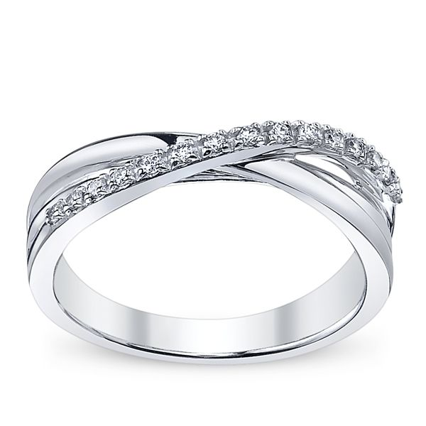 14k White Gold Diamond Wedding Ring 1/10 ct. tw.