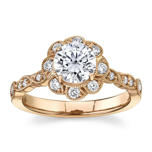 RB Signature 14k Rose Gold Diamond Engagement Ring Setting 1/3 ct. tw.