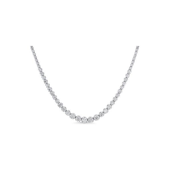 14k White Gold Graduating Riviera Tennis Necklace 2 1/2 ct. tw.