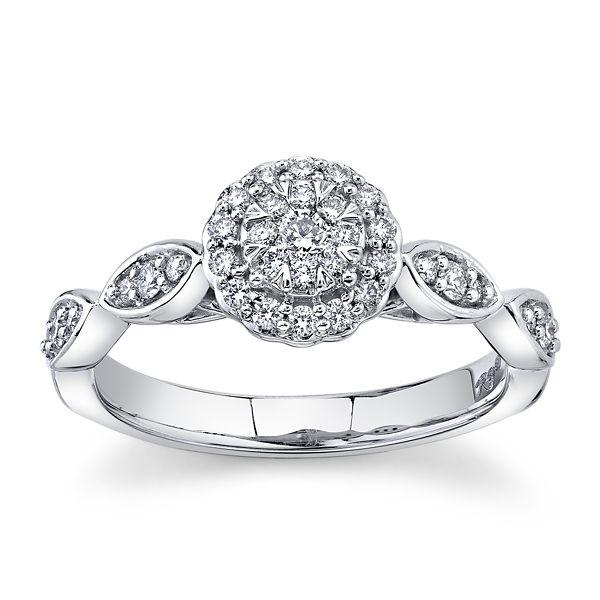 Cherish 10k White Gold Diamond Engagement Ring 1/3 ct. tw.