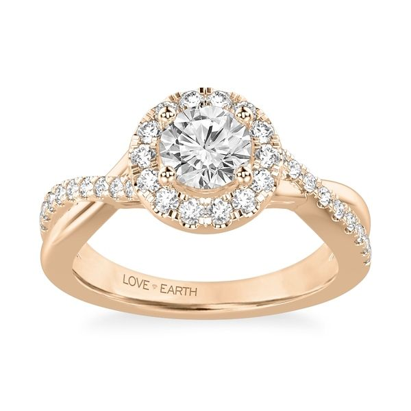 Love Earth 14k Rose Gold Diamond Engagement Ring Setting 1/2 ct. tw.