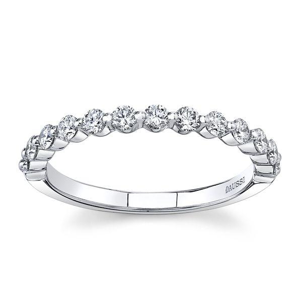 Henri Daussi 14k White Gold Diamond Wedding Band 3/8 ct. tw.