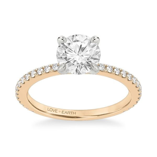 Love Earth 14k Rose and 14k White Gold Diamond Engagement Ring Setting 1/3 ct. tw.