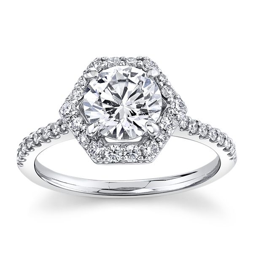 Love Earth 14k White Gold Diamond Engagement Ring Setting 3/8 ct. tw.