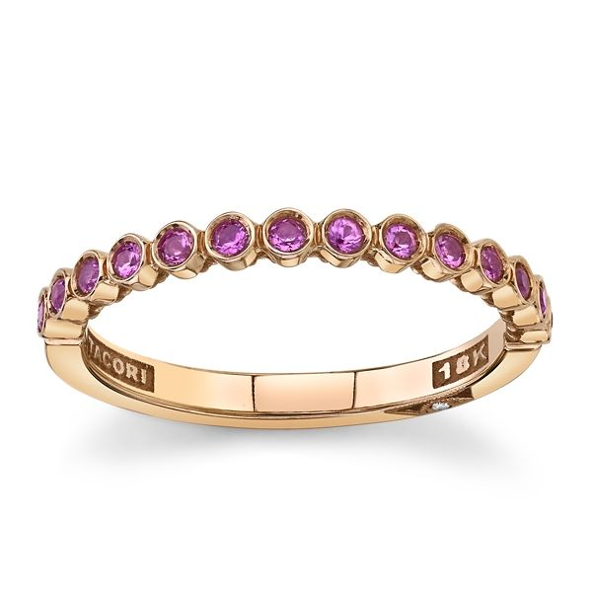 Tacori 18k Rose Gold Pink Sapphire Diamond Wedding Band .01 ct. tw.