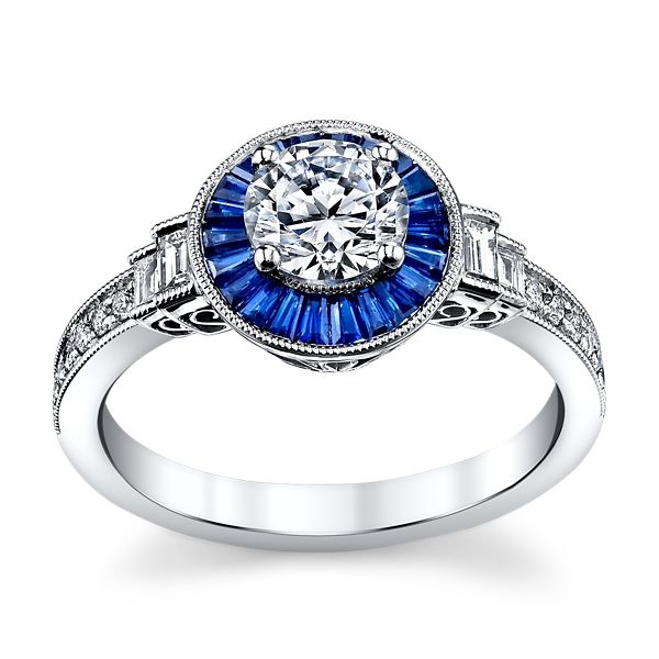 Simon G. 18K White Gold Diamond And Blue Sapphire Engagement Ring Setting 1/5 ct. tw.