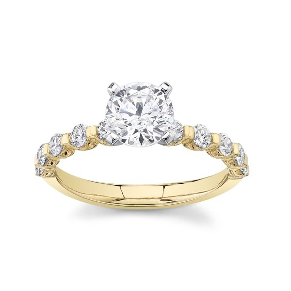 Suns and Roses 14k Yellow Gold and 14k White Gold Diamond Engagement Ring Setting 3/8 ct. tw.