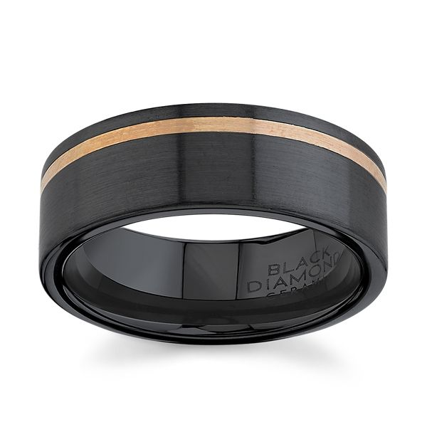 Black Ceramic Carbide and 14k Rose Gold 8 mm Wedding Band