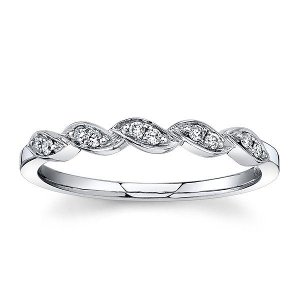 14k White Gold Diamond Wedding Band .07 ct. tw.