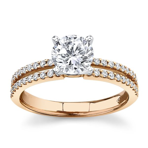 RB Signature 14k Rose and 14k White Gold Diamond Engagement Ring Setting 1/4 ct. tw.