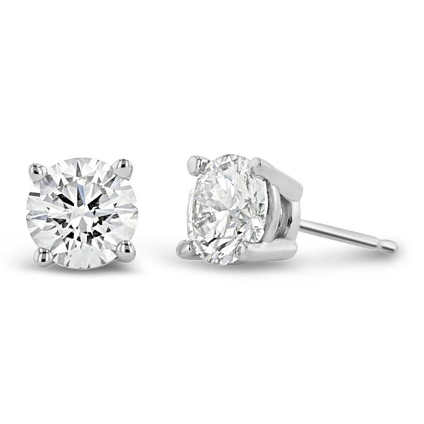 Eternalle Lab-Grown 14k White Gold Solitaire Earrings 1 1/2 ct. tw.