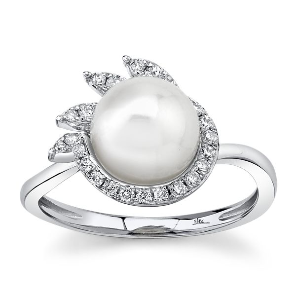 Shy Creation 14k White Gold Diamond and Cultured Pearl Ring 1/5 ct. tw.