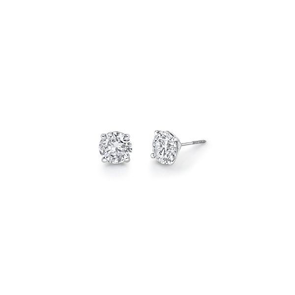 14k White Gold Solitaire Earrings 4 ct. tw.