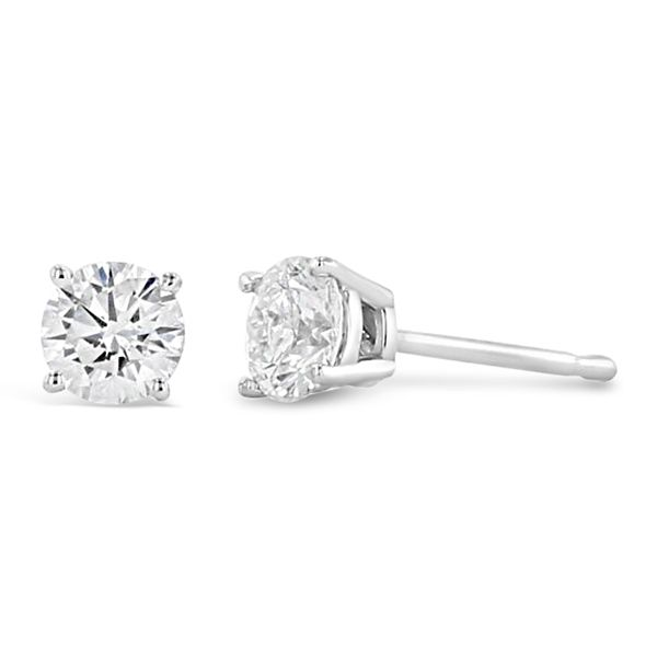 Eternalle Lab-Grown 14k White Gold Solitaire Earrings 1/2 ct. tw.