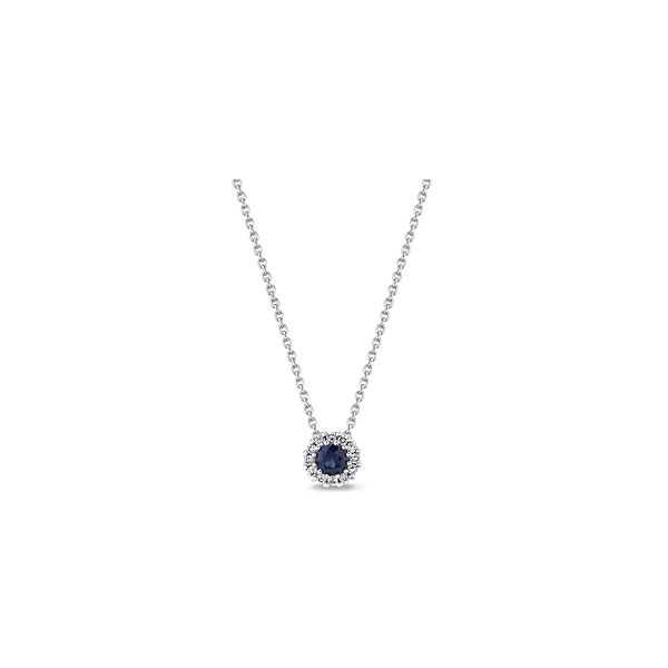 14k White Gold Blue Sapphire Pendant 1/10 ct. tw.