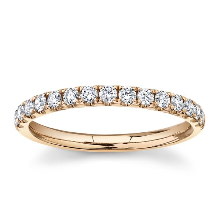 Divine 14k Rose Gold Diamond Wedding Band 1/3 ct. tw.