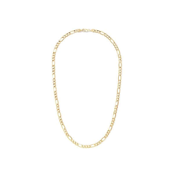 """14k Yellow Gold 24"""" Concave Open Figaro Chain"""