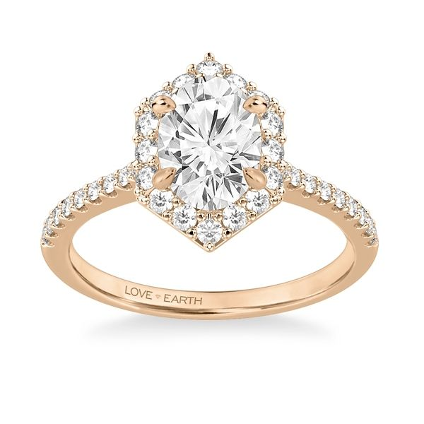 Love Earth 14k Rose Gold Diamond Engagement Ring Setting 3/8 ct. tw.