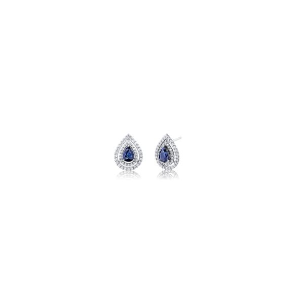 14k White Gold Blue Sapphire and Diamond Earrings 3/4 ct. tw.