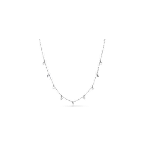 Shy Creation 14k White Gold Diamond and Cultured Pearl Necklace 0.03 ct. tw.