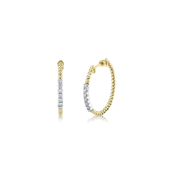 Gabriel & Co. 14k Yellow Gold and 14k White Gold and Titanium Earrings 1/4 ct. tw.