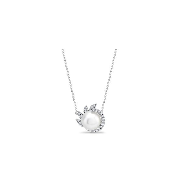 Shy Creation 14k White Gold Diamond and Cultured Pearl Necklace 1/5 ct. tw.