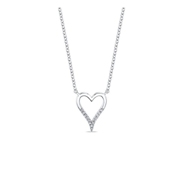Shy Creation 14k White Gold Diamond Heart Necklace .03 ct. tw.