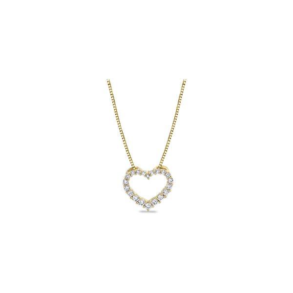 14k Yellow Gold Heart Pendant 1/4 ct. tw.