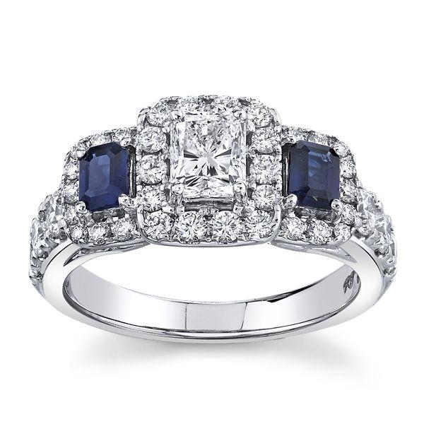 Utwo 14k White Gold Blue Sapphire Diamond Engagement Ring 1 1/2 ct. tw.