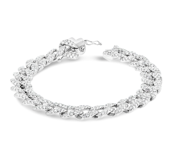 Shy Creation 14k White Gold Link Bracelet 4 ct. tw.
