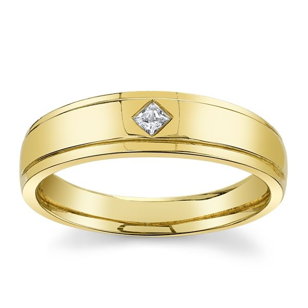 14k Yellow Gold Diamond Wedding Band .08 ct. tw.