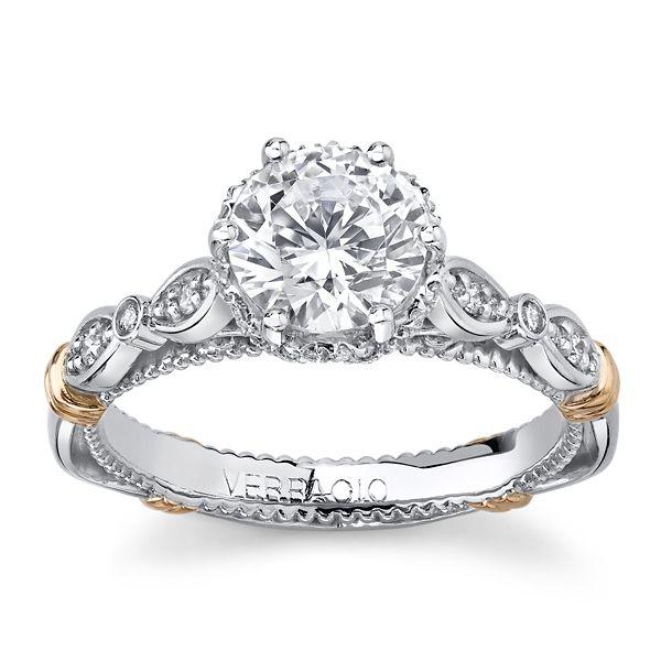 Verragio 14k White Gold & 14k Rose Gold Diamond Engagement Ring Setting 1/5 ct. tw.